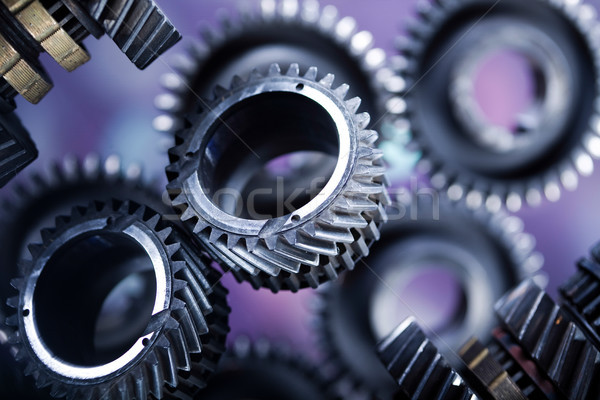 Closeup of gears, industrial mechanism, technic concept Stock photo © JanPietruszka