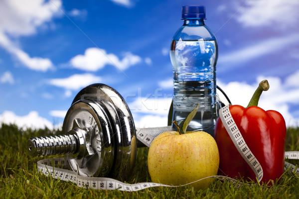 Diet and fitness, dumbell in vitamins  Stock photo © JanPietruszka