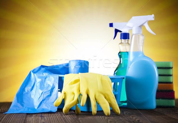 Reinigingsproducten werk home fles dienst chemische Stockfoto © JanPietruszka