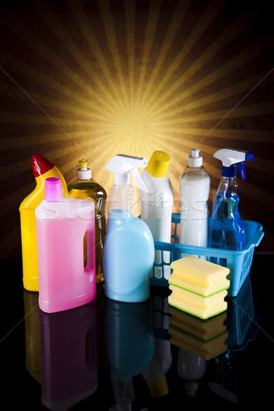 Stockfoto: Reinigingsproducten · zonneschijn · werk · home · fles · dienst