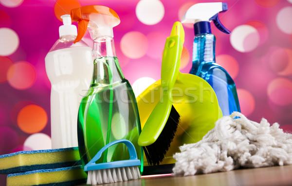 Foto d'archivio: Set · prodotti · di · pulizia · home · lavoro · colorato · gruppo