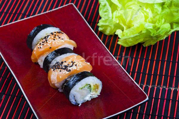 традиционный японская еда суши рыбы таблице бамбук Сток-фото © JanPietruszka