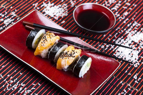 Tradizionale cibo giapponese sushi pesce tavola bambù Foto d'archivio © JanPietruszka