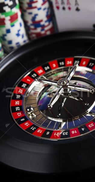 Rulett kaszinó póker zsetonok játszik sültkrumpli jókedv Stock fotó © JanPietruszka