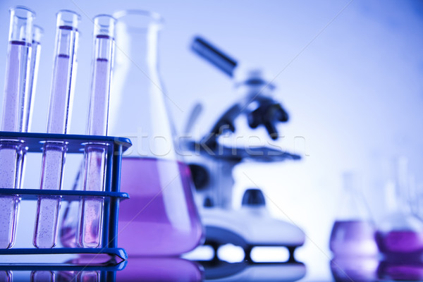 Chemistry science, Laboratory glassware background Stock photo © JanPietruszka