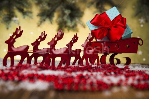 Mikulás szánkó ajándék doboz karácsony hó háttér Stock fotó © JanPietruszka