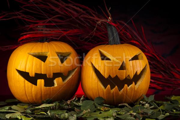 Vicces arc sütőtök halloween szemek háttér űr Stock fotó © JanPietruszka