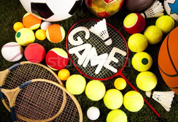 Juego artículos deportivos naturales colorido deporte fútbol Foto stock © JanPietruszka