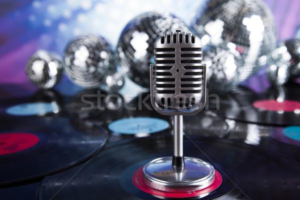 Foto stock: Estilo · retro · microfone · música · discoteca · fundo