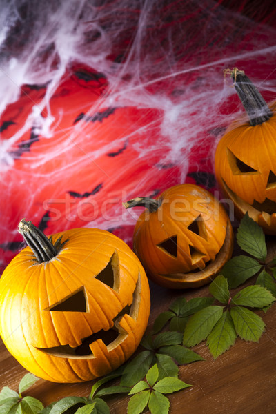 Halloween web ogen achtergrond oranje ruimte Stockfoto © JanPietruszka