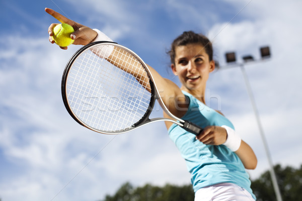 Young woman playing tennis Stock photo © JanPietruszka