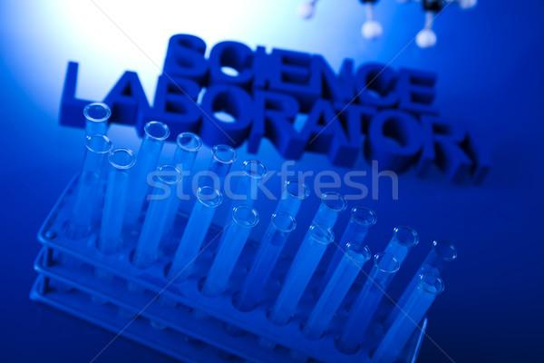 Laboratorio cristalería tecnología vidrio azul Foto stock © JanPietruszka