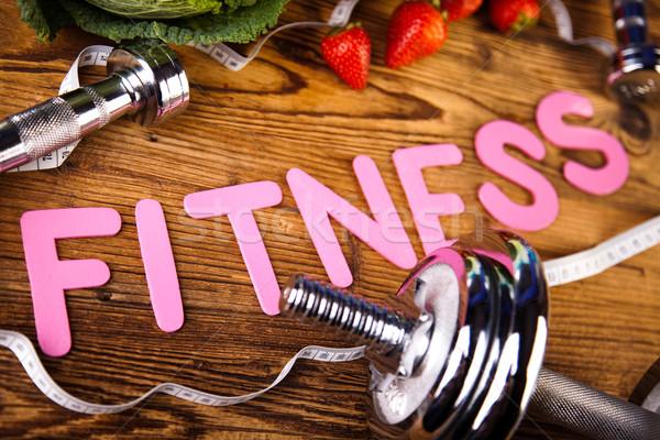 Vitamin fitnessz diéta súlyzó gyümölcs egészség Stock fotó © JanPietruszka