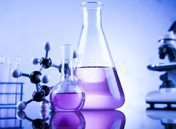 Kémia tudomány laboratórium üvegáru egészség kék Stock fotó © JanPietruszka