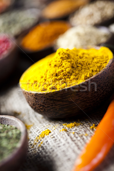Spices and herbs, orintal cuisine vivid theme Stock photo © JanPietruszka