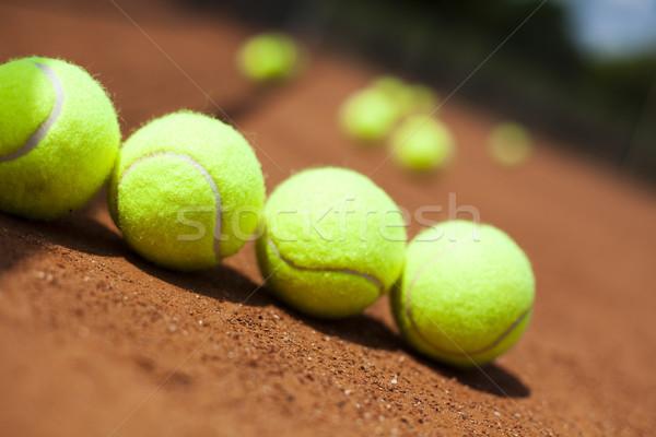 Raqueta de tenis tribunal fondo deportes tierra Foto stock © JanPietruszka