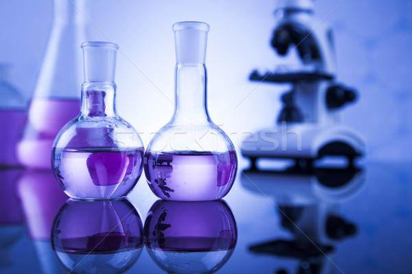 Química ciência laboratório artigos de vidro saúde azul Foto stock © JanPietruszka