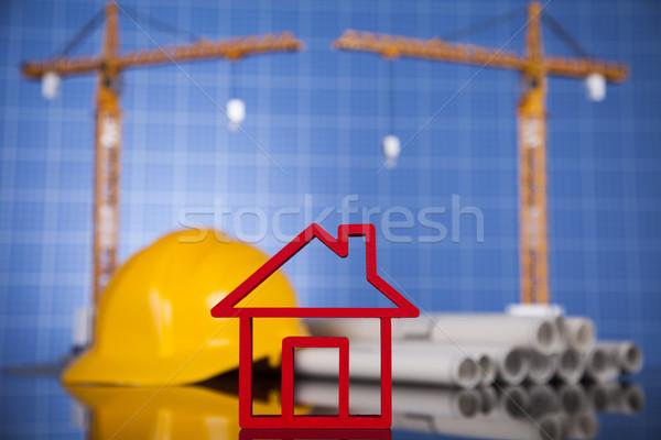 Grue blueprints bâtiments construction affaires Photo stock © JanPietruszka