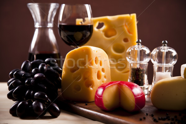 Red wine and cheese, saturated ambient rural theme Stock photo © JanPietruszka