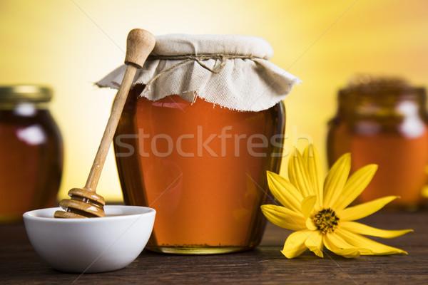 Méz bögre virág édes háttér hegy Stock fotó © JanPietruszka