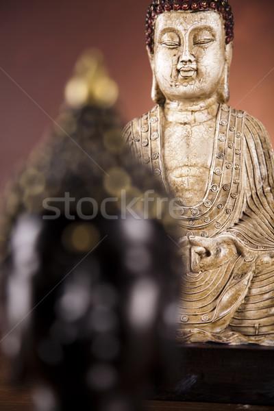 Portret buddha standbeeld zon rook ontspannen Stockfoto © JanPietruszka