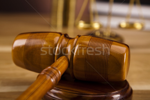 Houten hamer hout recht hamer witte Stockfoto © JanPietruszka