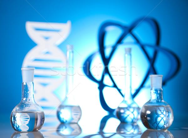 Atom, Molecules model, Laboratory glassware  Stock photo © JanPietruszka