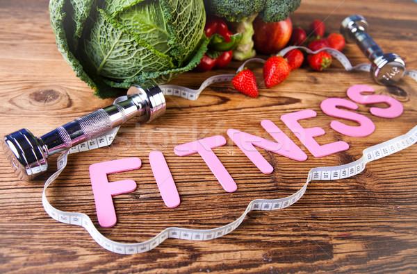 Vitamin and Fitness diet, dumbbell Stock photo © JanPietruszka