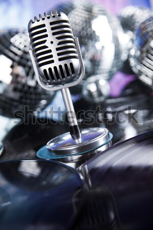 Microphone with disco balls, music saturated concept Stock photo © JanPietruszka