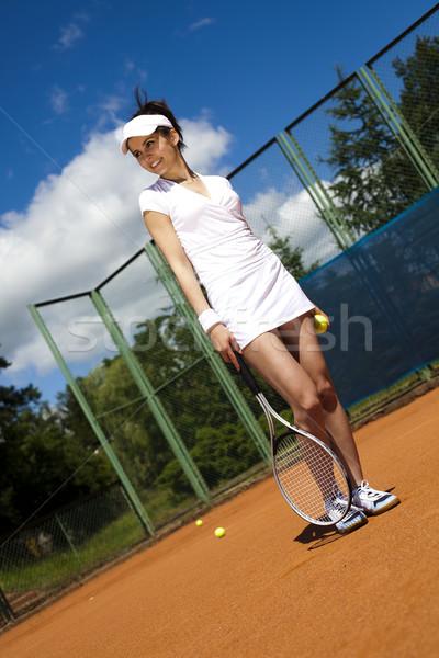 Fiatal nő teniszező bíróság nő jókedv fiatal Stock fotó © JanPietruszka