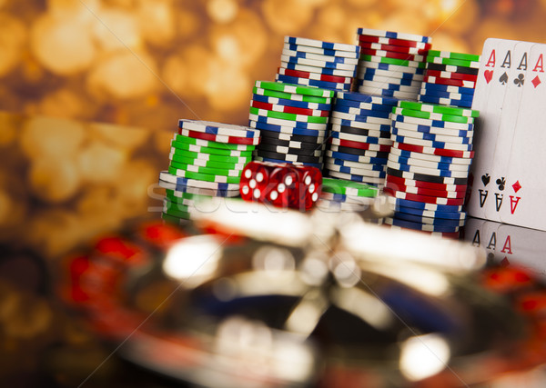 Poker chips casino roulette leuk zwarte Stockfoto © JanPietruszka