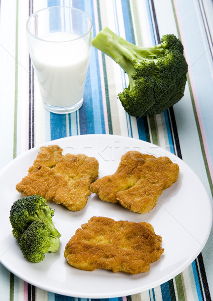 Soya cutlets & broccoli colorful background Stock photo © JanPietruszka