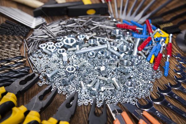 Pracy narzędzia drewna strony pracownika moc Zdjęcia stock © JanPietruszka