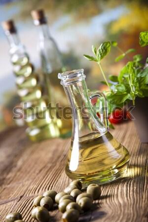 Stockfoto: Olijfolie · flessen · middellandse · zee · landelijk · blad · glas