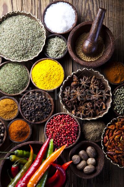 Spice Still Life, wooden bowl, orintal cuisine vivid theme Stock photo © JanPietruszka