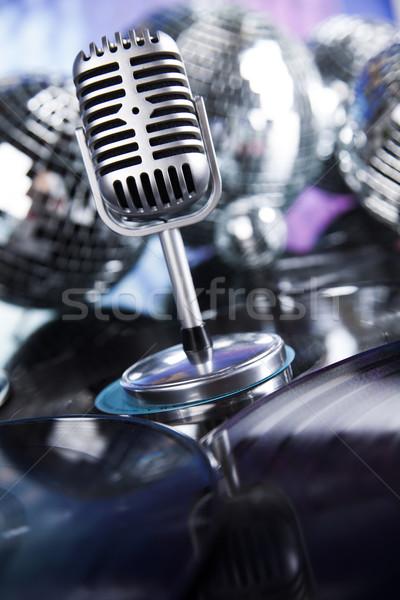 W stylu retro mikrofon dźwięku fale disco Zdjęcia stock © JanPietruszka