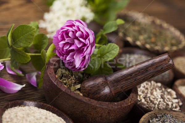 木製のテーブル ハーブ 自然 美 ストックフォト © JanPietruszka