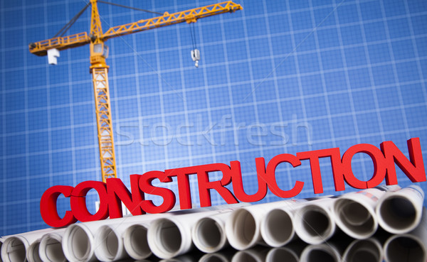Construction site with cranes and building concept Stock photo © JanPietruszka