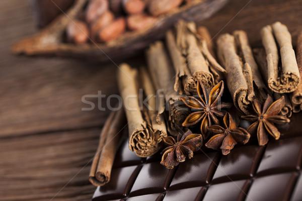 Cinnamon and anise, Dark chocolate with candy sweet Stock photo © JanPietruszka