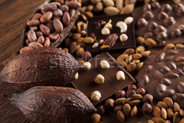 Chocolate bar, candy sweet, dessert food on wooden background Stock photo © JanPietruszka