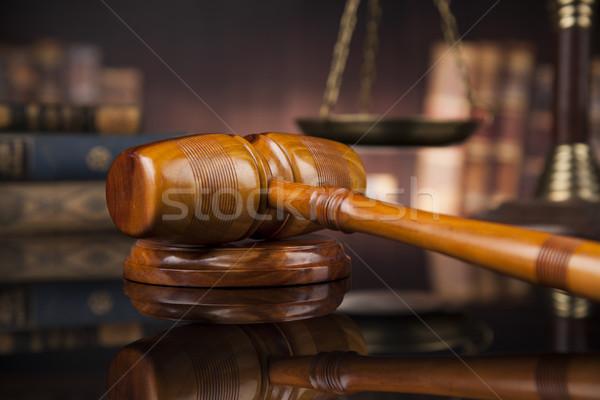 Recht Pfund Richter Gerichtssaal Hammer Skalen Stock foto © JanPietruszka