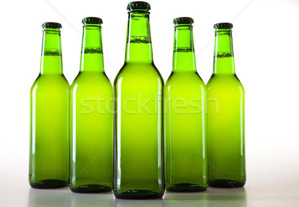 зеленый бутылку пива коллекция стекла студию Сток-фото © JanPietruszka