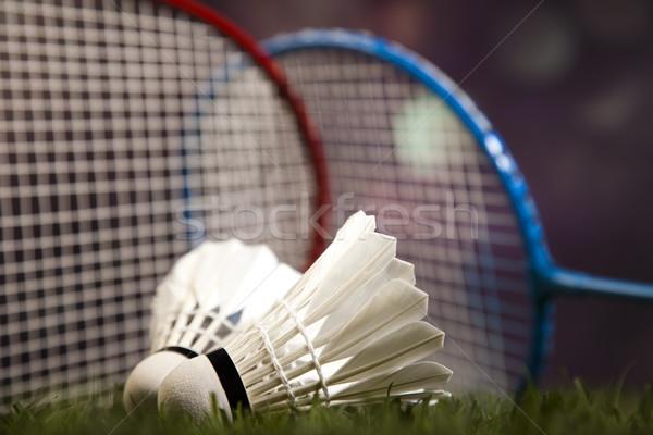 Badminton racket sport voetbal zomer oranje Stockfoto © JanPietruszka