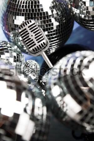 Stock fotó: Mikrofon · bakelit · lemez · diszkó · golyók · zene