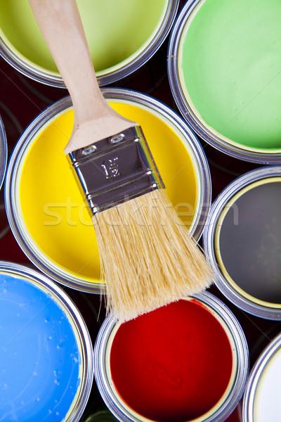 Pędzlem jasne kolorowy streszczenie projektu domu Zdjęcia stock © JanPietruszka