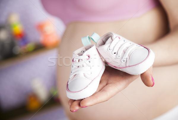 Foto stock: Mulher · grávida · par · sapatos