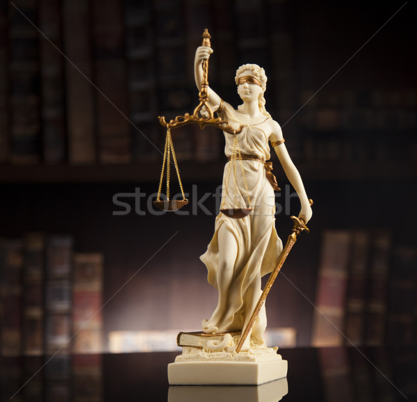 Antique statue of justice, law, books background Stock photo © JanPietruszka