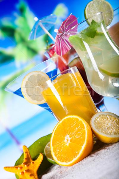 Stock fotó: Alkohol · italok · szett · gyümölcsök · étel · narancs