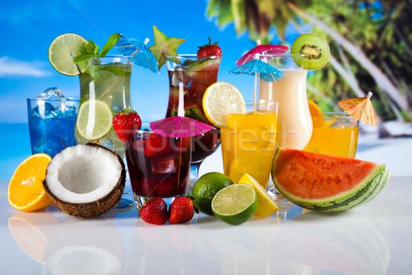 Stockfoto: Vruchten · cocktails · strand · voedsel · oranje · ruimte