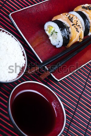 Hagyományos japán étel szusi hal asztal bambusz Stock fotó © JanPietruszka